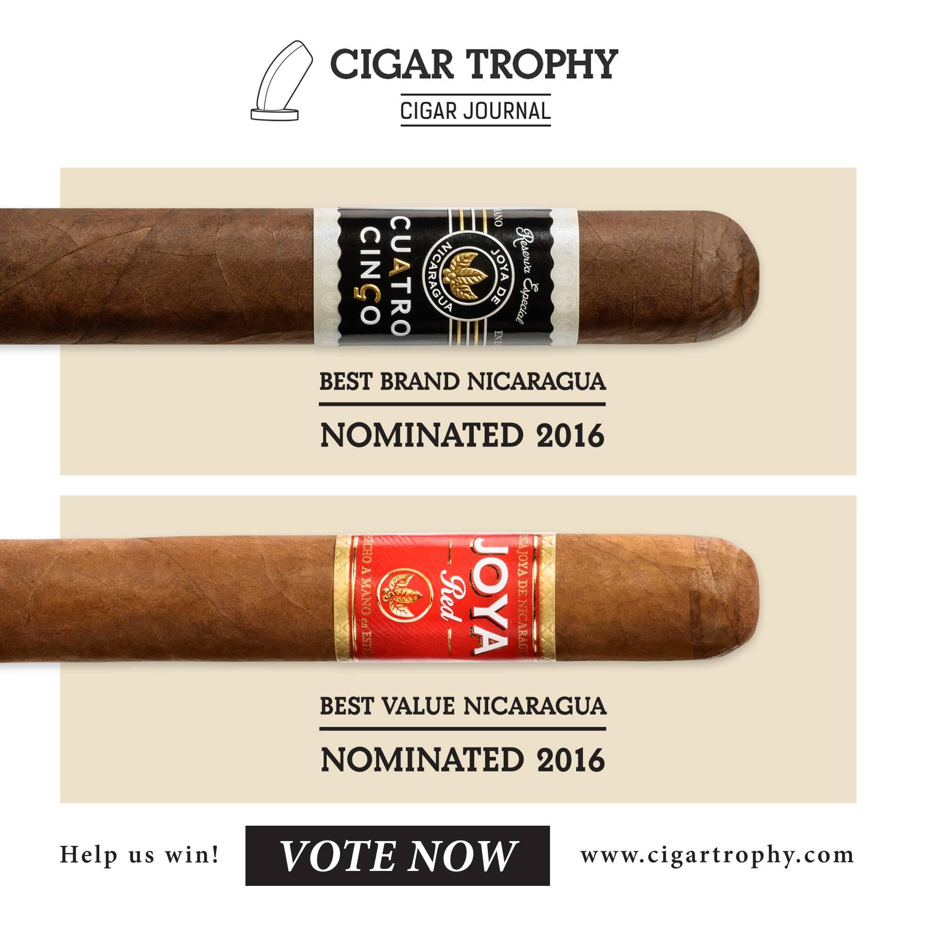 Vote now for Joya de Nicaragua for in Cigar Journals Cigar Trophy Awards!